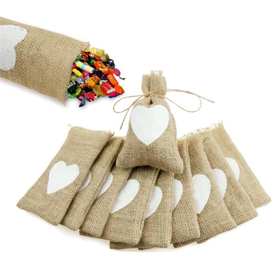 Diy Burlap Sack: HOT Gifts Candy Bags 10Pcs Natural Jute Burlap Sack Bag