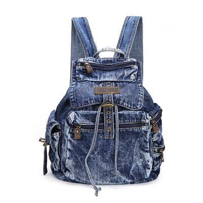 Newest style fashion denim backpack with zipper pocket jeans student backpack