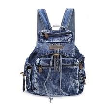 Новый стиль моде джинсовые рюкзак с карман на молнии, джинсы студент рюкзак