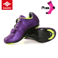Santic 2018 Women Cycling Shoes Lace up Nylon Sole Road Bike Shoes Lady Sneakers Athletic Racing Bicycle Shoes for Female Riding