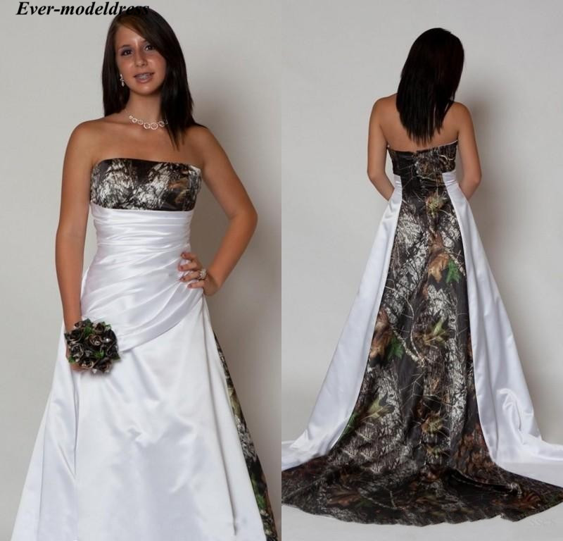New Arrival Country Camo Wedding Dresses With Pleats Empire Waist A-line Sweep Train Camouflage 2019 Strapless Bridal Gowns