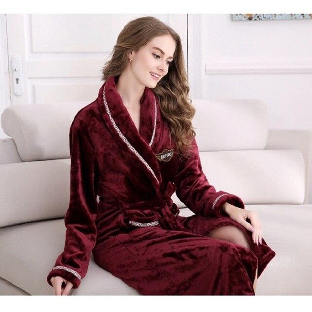 2017 Navy Coral Kaftans Full Sleeve Flannel Fleece Couple Men Women Solid Lightness Sleep Lounge Robes Lover Bathrobe Dress