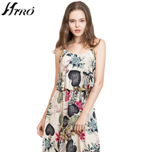 2017 HIRO Summer Dresses Boho Sexy Max Dress Women Vintage Chiffon Floral Print Spaghetti Strap Long Dress Vestidos De Fiesta