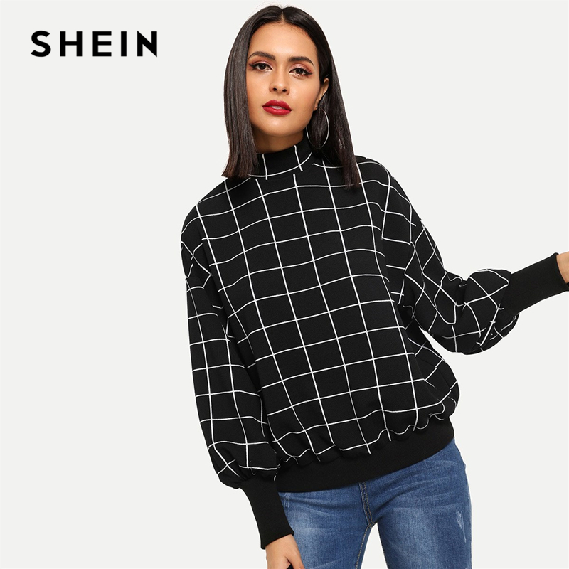 SHEIN Black Minimalist Mock-Neck Grid Plaid Stand Collar Pullover Sweatshirt Autumn Preppy Campus Casual Women Sweatshirts