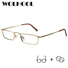 Metal Frame Magnifying Eyeglasses Reading Glasses Vision Squ