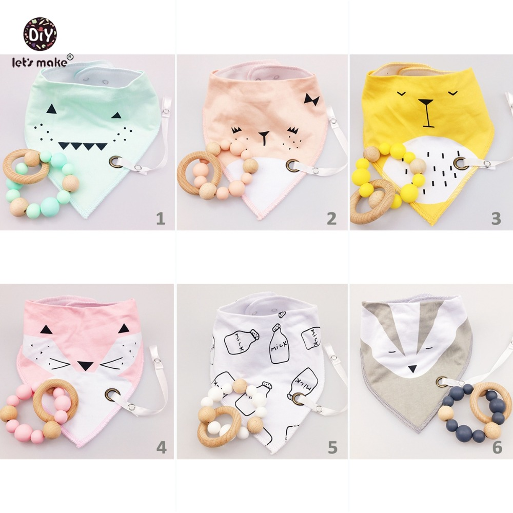Let s make Baby Nursing Bracelet 6set 12pcs BPA Free Silicone Chew Beads Baby Bibs Drool