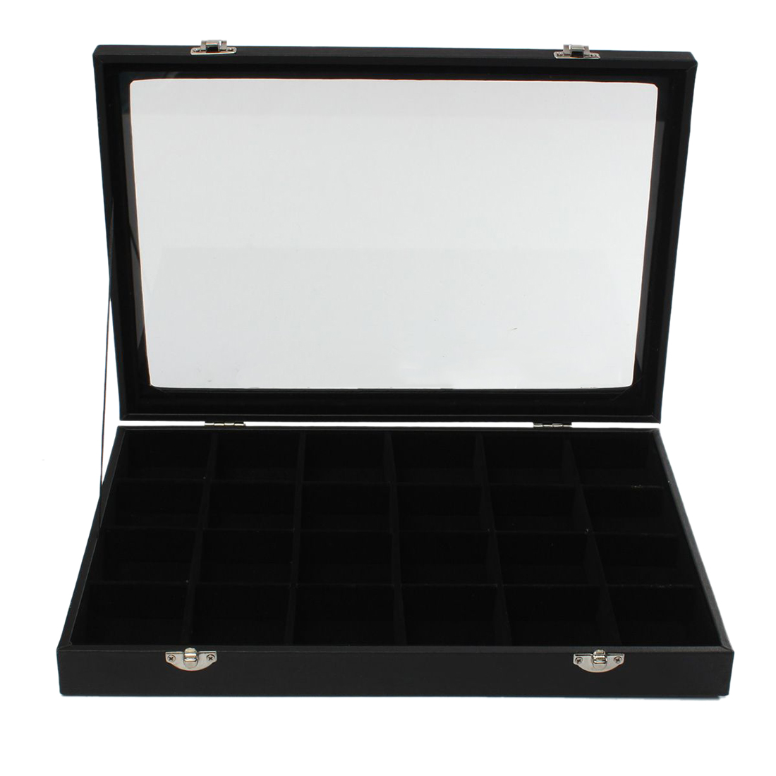 24 Grids Glass Jewelery Earrings Tray Necklaces Bracelets Display Storage Box