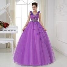 סקסי V צוואר Sheer חזור קריסטל חרוזים אור סגול Quinceanera שמלות כחולות שמלות נסיכת שמלות נשף Vestido בנות טובות