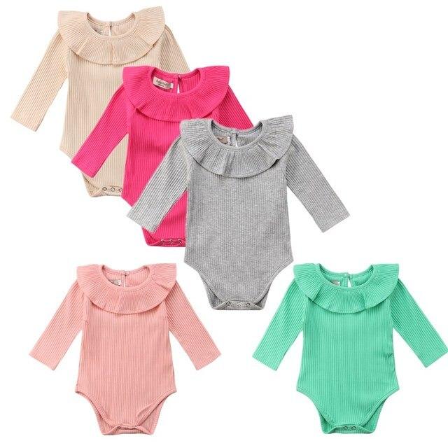 c1209e02bff Newborn Baby Girl Cotton Knitted Bodysuit Short Jumspuit Sunsuit Clothes  Kids Girls Summer Ruffles Playsuit Bodysuits Clothing