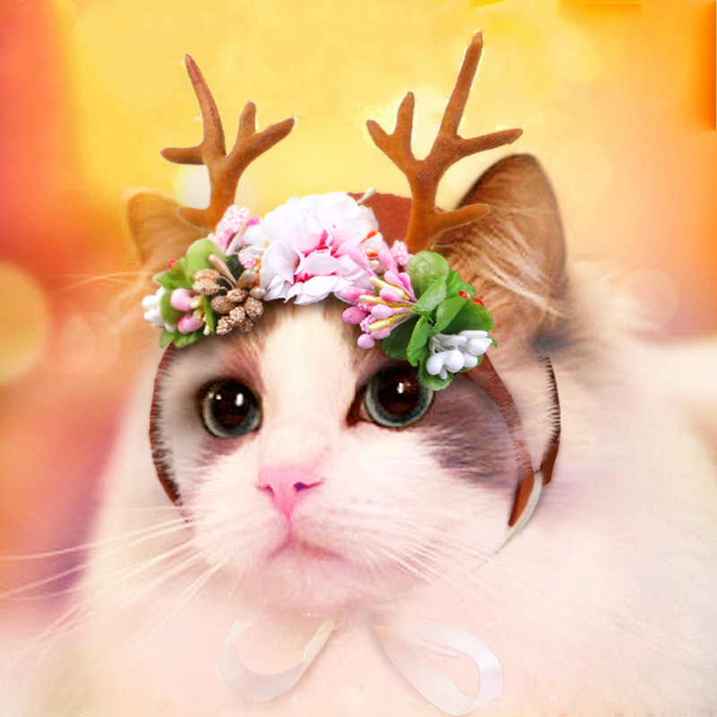 Pet Cat Costume Hair Accessories For Cats Dogs Christmas Decorations For Pets Christmas Headdress For Cat Size S M 10f35