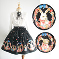 Lolita Style Bow Ball Gown Skirts Empire Knee Length Skirt Black Print Rabbit High Quality Princess Skirts