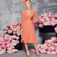 d7359d9f3dd Women Dress Chiffon Pleat Crystals Long Sleeve Bolero Knee Length Mother of  the Bride Dresses 2017