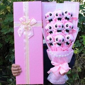 Image 4 - Drop shipping Cartoon Lilo Stitch pluszowa lalka zabawki śliczne Lilo Stich pluszowy bukiet z sztuczny kwiat wesele prezent bez pudełka
