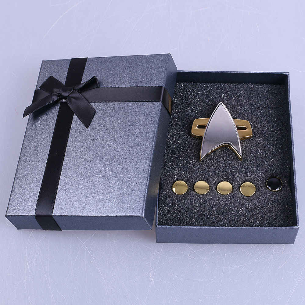 ST Badge Star Voyager Communicator The Next Generation Metal Badges Pin&Rank Pip/Pips 6pcs Set Cosplay Prop