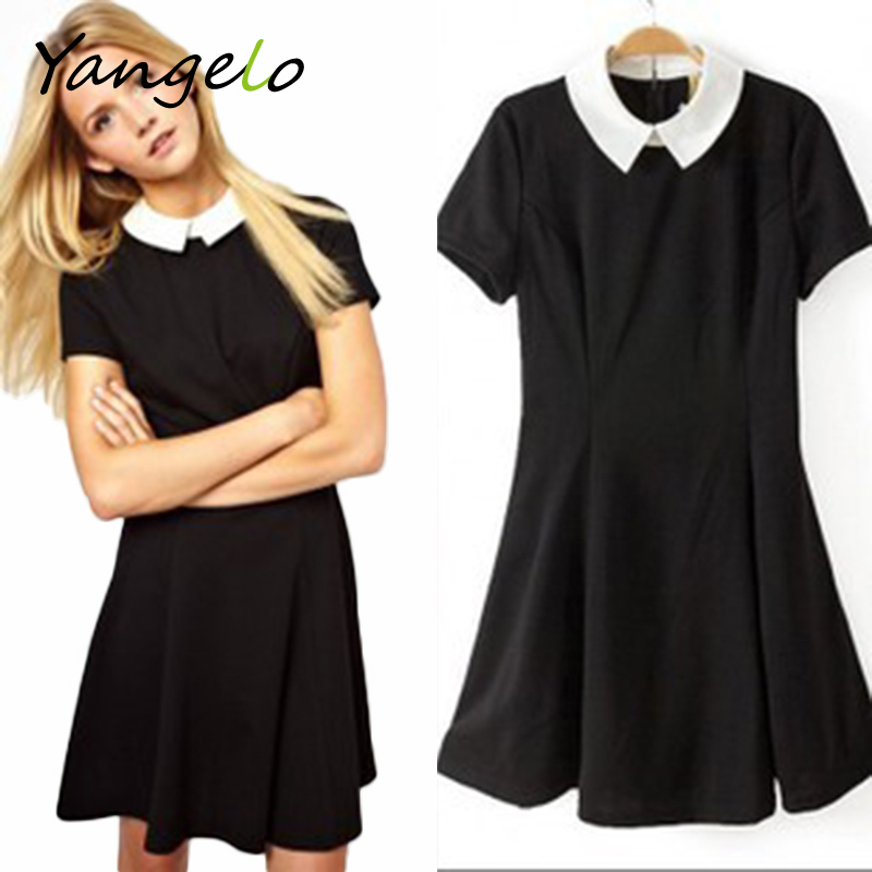 f19861bc32e3f Party Lady Short Sleeve Office Dress School Sundress 2016 Summer Fashion  Vestidos For Women Elegant Peter Pan Collar Dresses