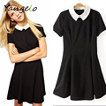 Party Lady Short Sleeve Office Dress School Sundress 2016 Summer Fashion Vestidos For Women Elegant Peter Pan Collar Dresses