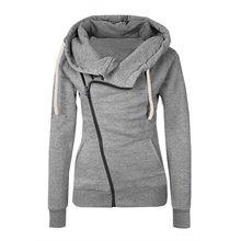 New Women Sweatshirts Solid Color Hooded Jacket Long Sleeve Women's Hoodie Zipper Fall Winter Women Coat 2017
