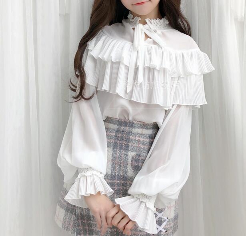 Women White Chiffon Lolita Blouse Sweet Ruffle Long Sleeve Shirt Tops