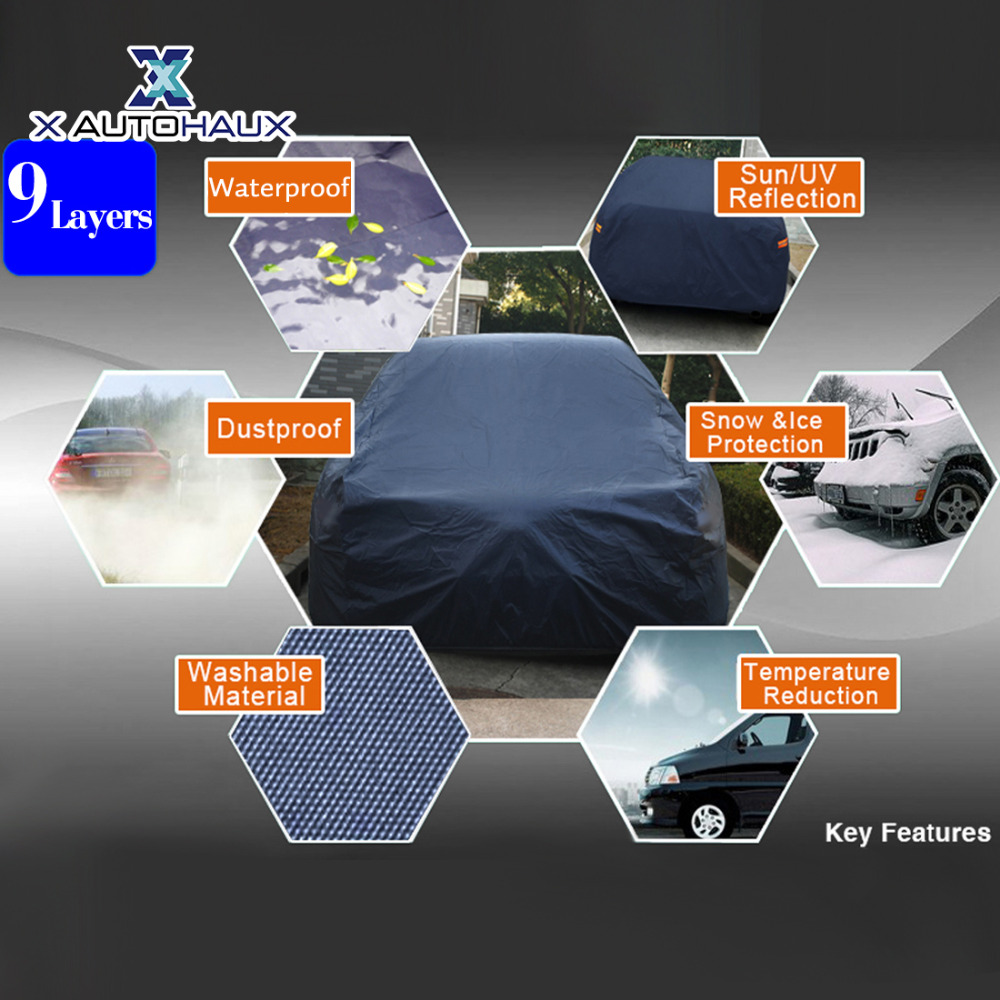 X Autohaux 490*180*160 cm 3XL noir respirant extérieur étanche à la poussière pluie neige Anti UV chaleur bâche de voiture extérieur bâches de voiture - 4