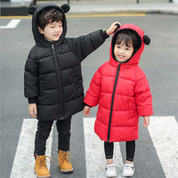 Children's Jackets Outerwear For Boys Girls Autumn Warm Down Cotton Hooded Coat Kids Winter Jackets Rabbit Ear Outfits