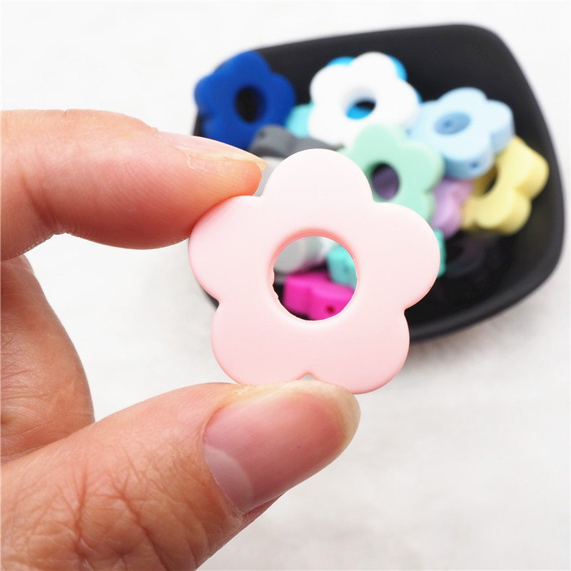 Chenkai 10pcs Silicone Flower Beads DIY Baby Shower Pacifier Dummy Teething Montessori Sensory Jewelry Making Teether Toy Beads in Baby Teethers from Mother Kids
