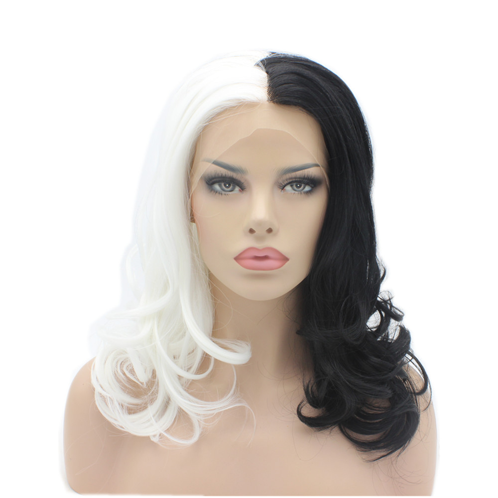 K19 16inch Wavy Half White Half Black Mix Color Synthetic Lace Front Wigs Heat Resistant Heavy