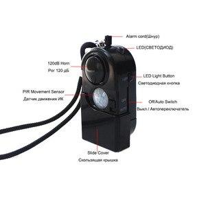 Image 2 - Kamp seyahat taşınabilir Mini PIR kızılötesi hareket sensör dedektörü Alarm 120dB kablosuz ev güvenlik anti hırsızlık Dropshipping