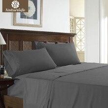 Naturelife @ 3 unids Hoja Set Juego de Cama de Algodón Color Sólido de La Raya de Microfibra Sábana bedcloth king size ropa de cama couvre