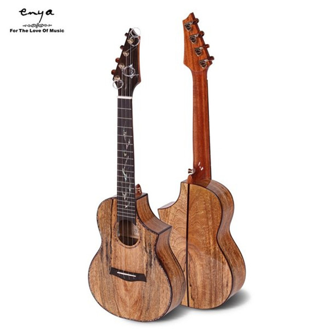 Cheap Enya EUC/T-MG6 23 26 Inch Electric guitar head Rosewood inlay shell Tiger-stripe Solid Mangowood Ukulele+Box