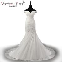 VARBOO_ELSA Luxury Pearl Beaded White Lace Wedding Dress 2017 Romantic Sweetheart Mermaid Chapel Train Bridal Gown Vestido Novia