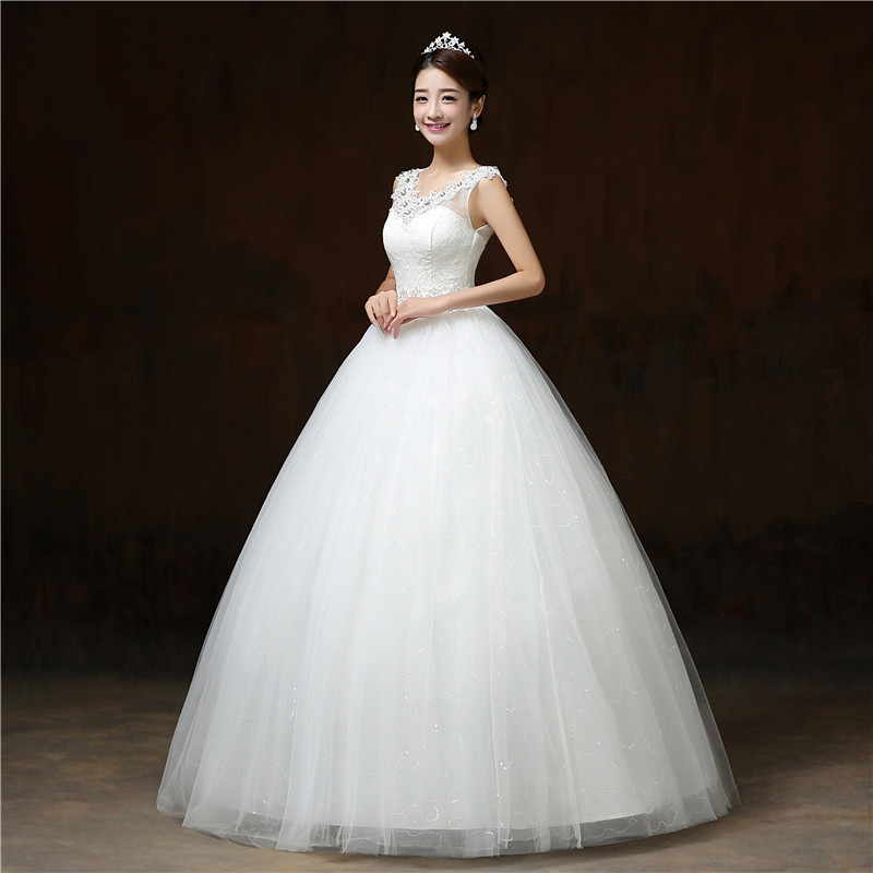 It\'s Yiiya Lace V neck Bling Tulle Wedding Dresses White Cheap ...