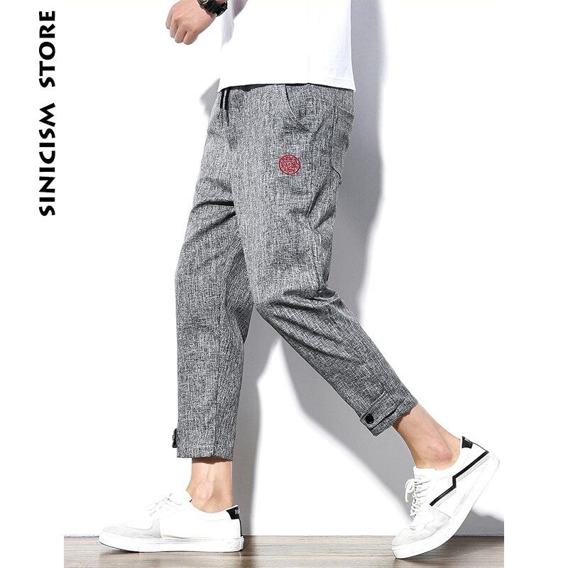 Sinicism Negozio Uomo 5XL Cotone Pantaloni di Lino Uomo Jogger Caviglia-Lunghezza Pants 2018 Uomo Estate Casual Motivo di Ricamo Pantaloni