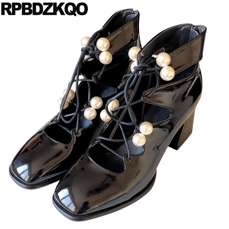 Nude Ankle Boots Pearl High Heels Shoes Strap Zipper Block Ladies Square Toe Lace Up Japanese Black Tie Gladiator Strappy Pumps цена 2017