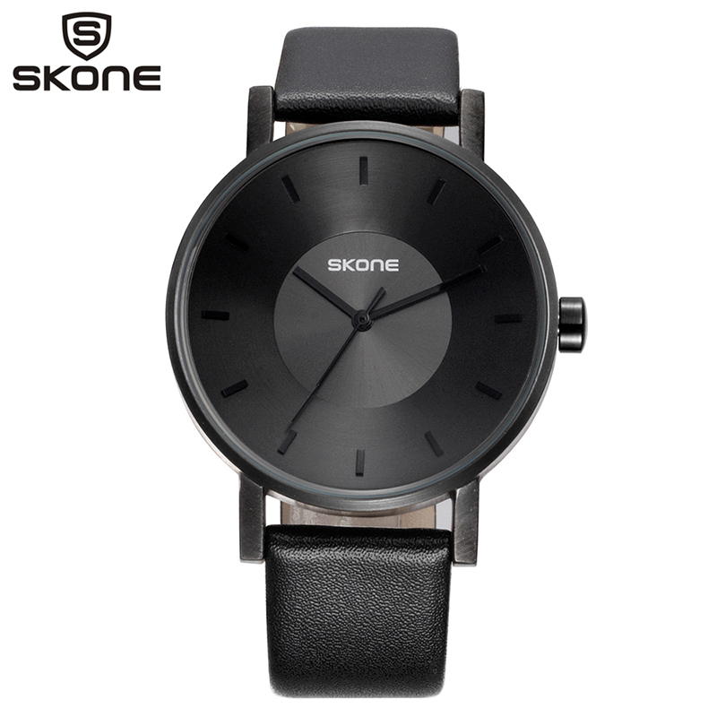 SKONE Quartz Watches 2 Size Lover's Fashion Wristwatches Men Women Business Casual Genuine Leather Simple Clock Male New 9463