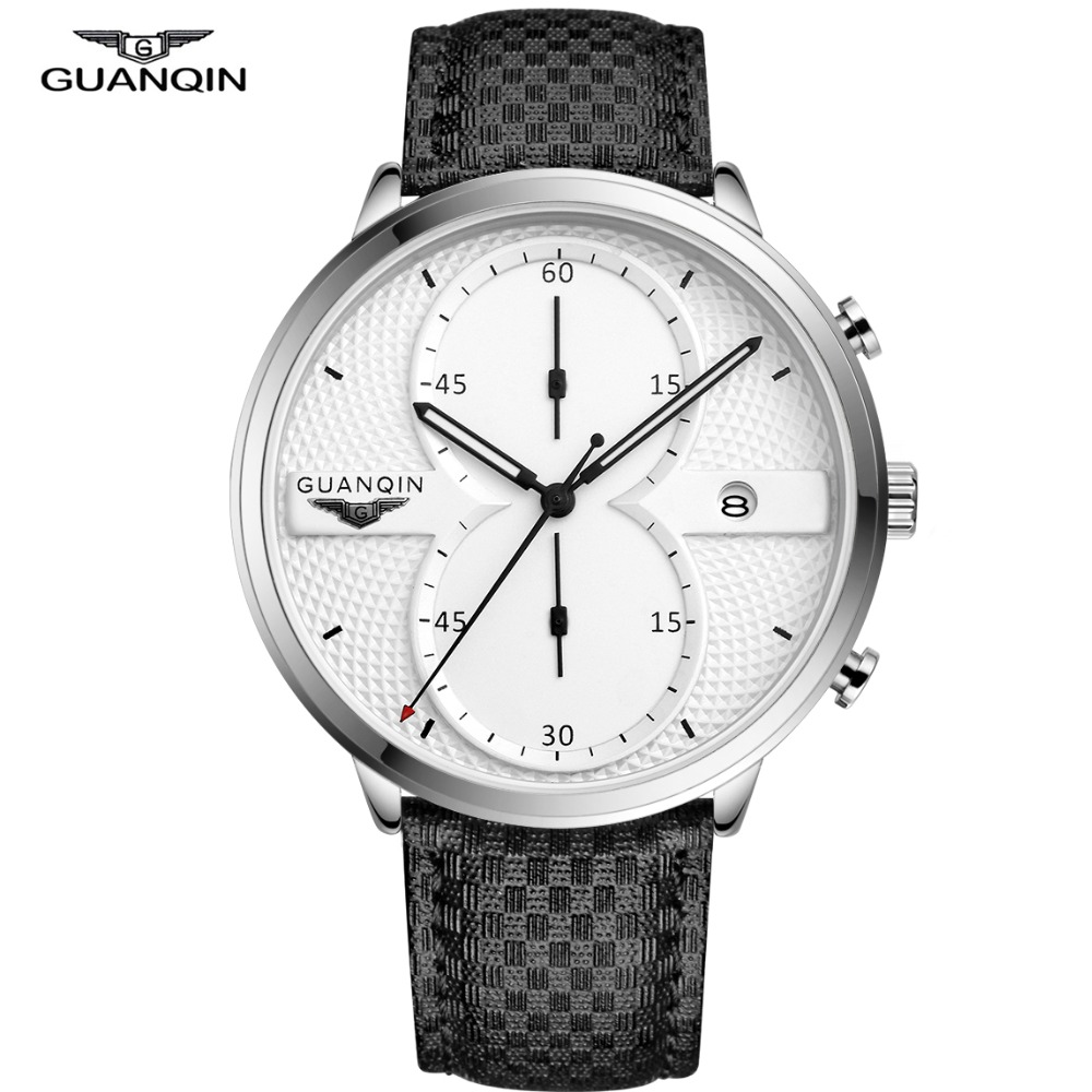 GUANQIN Mens Watches Clock Men Top Brand Luxury Chronograph Male Sport Leather Quartz Wrist Watch Big Dial Relogio Masculino