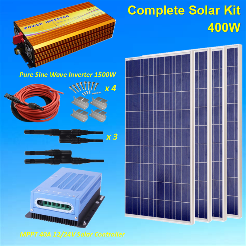 400W Solar Panel Kit : 4 x 100W Poly Solar Panel W/ 40A Controller+1500W Inverter+5M <font><b>Cable</b></font>+3Pairs <font><b>MC4</b></font> Branch <font><b>Adapter</b></font>+Z brackets image
