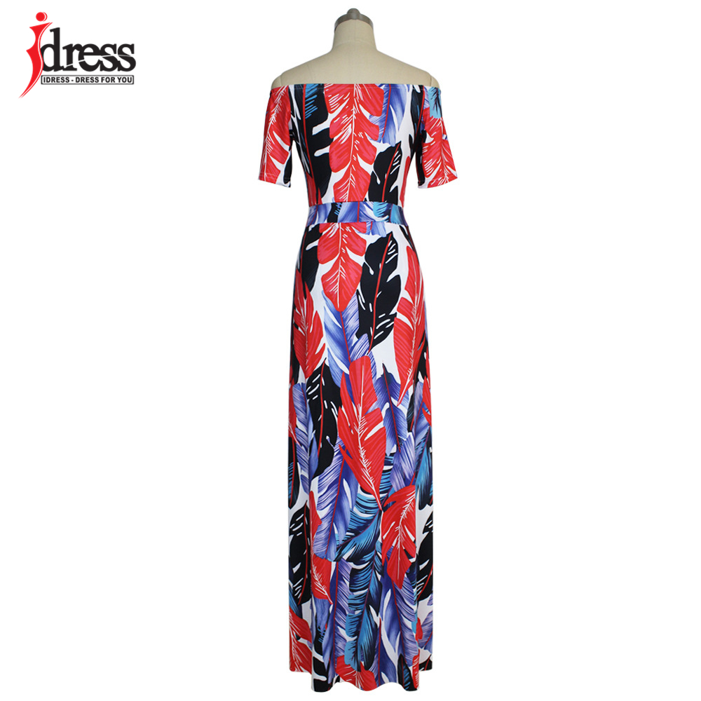 IDress Fashion 2017 Hot Sale Plus Size Casual Slash Neck Pattern Feather Slit Women Maxi Dresses Off the Shoulder Long Dress Vestidos (6)