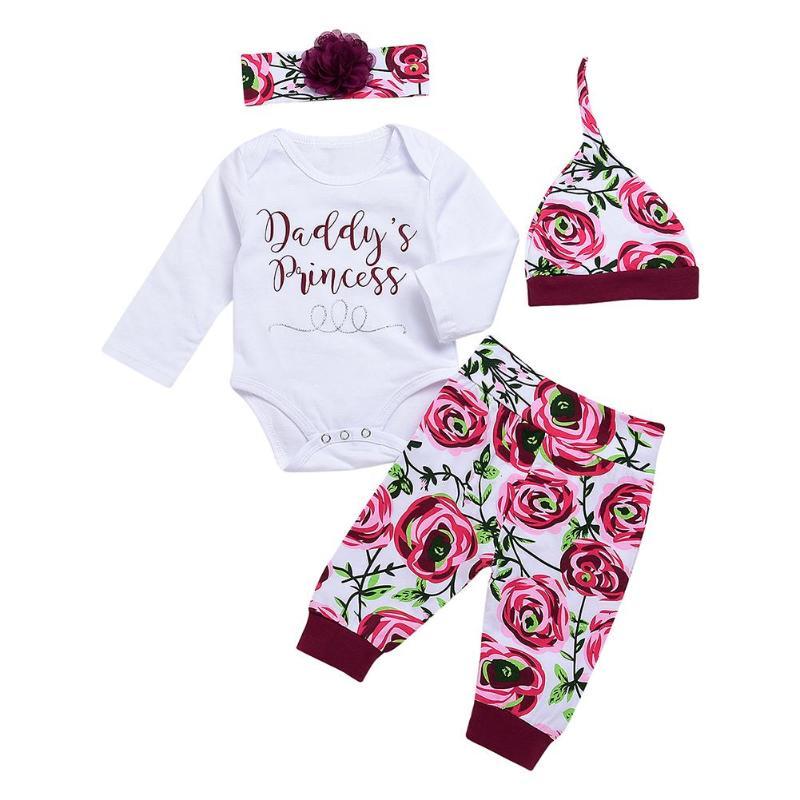 Floral-Pants Outfit Bodysuit Headband Tops Letters-Print Baby-Girl Hat Cotton 4pcs/Set