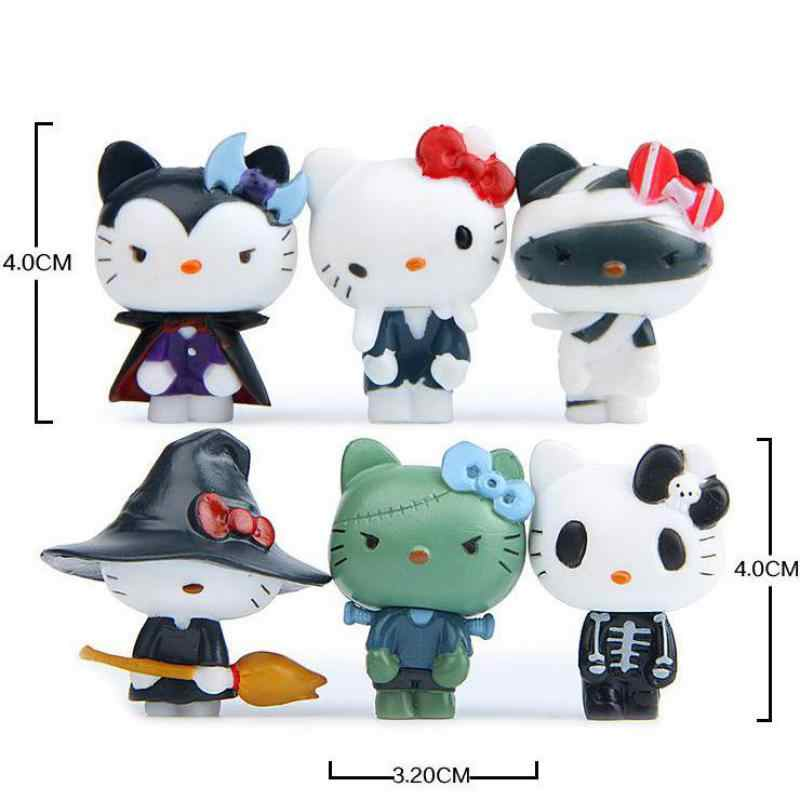6pcs Kawaii Hello Kitty Halloween Miniature Figurines Kids Gift  Cute Doll Kt Cat Toy Ornaments Home Decor Statuette decoration