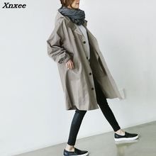 2018 New Hot Spring Autumn Women Long Trench Coat Long Sleeve Overcoats Fashion Single Breasted Hooded Plus Size Outerwear Xnxee 2018 spring new women fashion trench coat female loose cardigan stitching printing long sleeved single breasted outerwear cx88