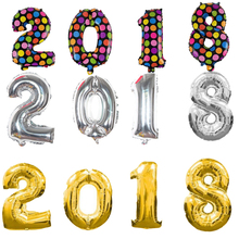 """2018"" Balloon digital Foil Ballon 32/16inch Gold/Silver/Blue/Pink Happy New Year Party Decorations Celebration Supplies"