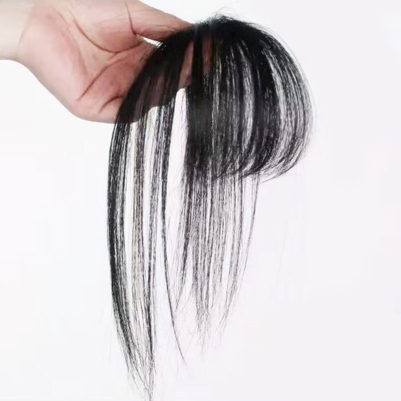 Full Shine 3D Bangs Clip In Bangs 100% Machine Made Bangs Without Hair Temples Clip In One Piece Striaght Fringe Hairpiece