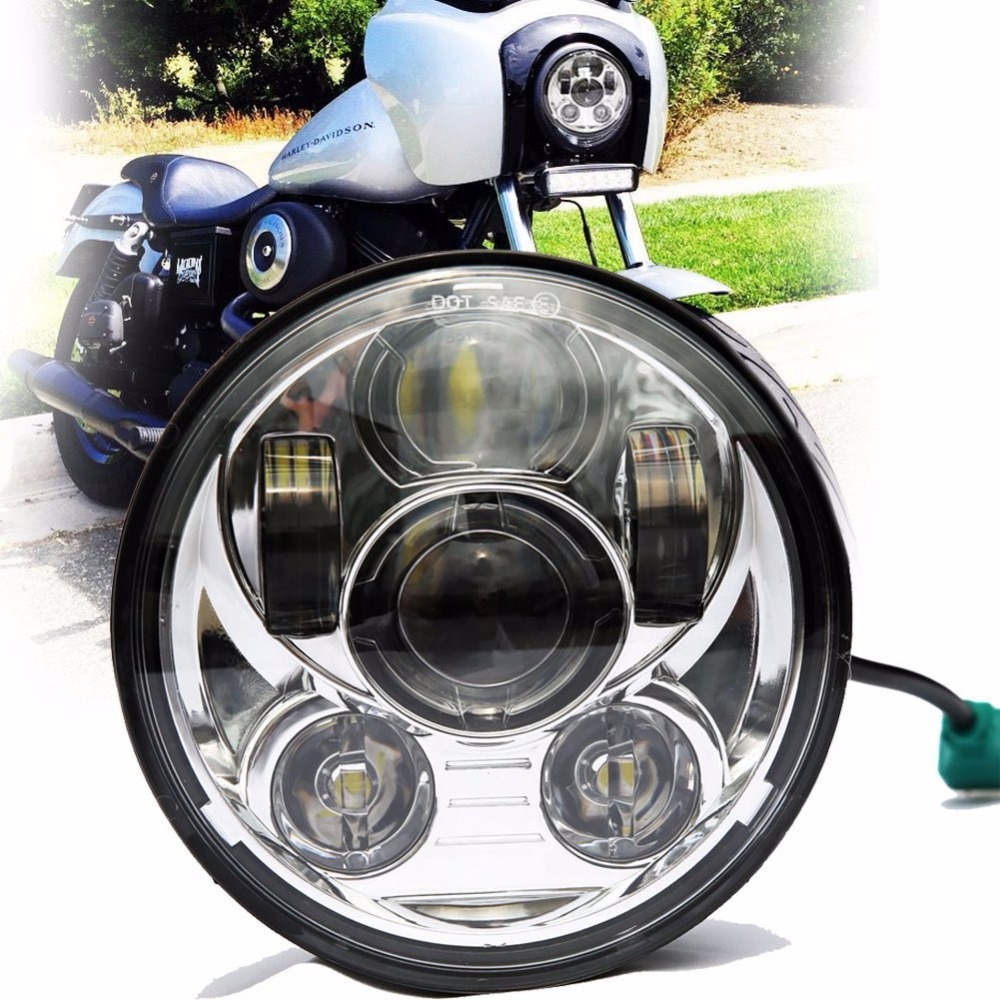 45W 9PCS LED Chips 5.75 5-3/4 Inch Round LED Projection Moto Headlight For Harley Davidson Dyna Motorcycles Light