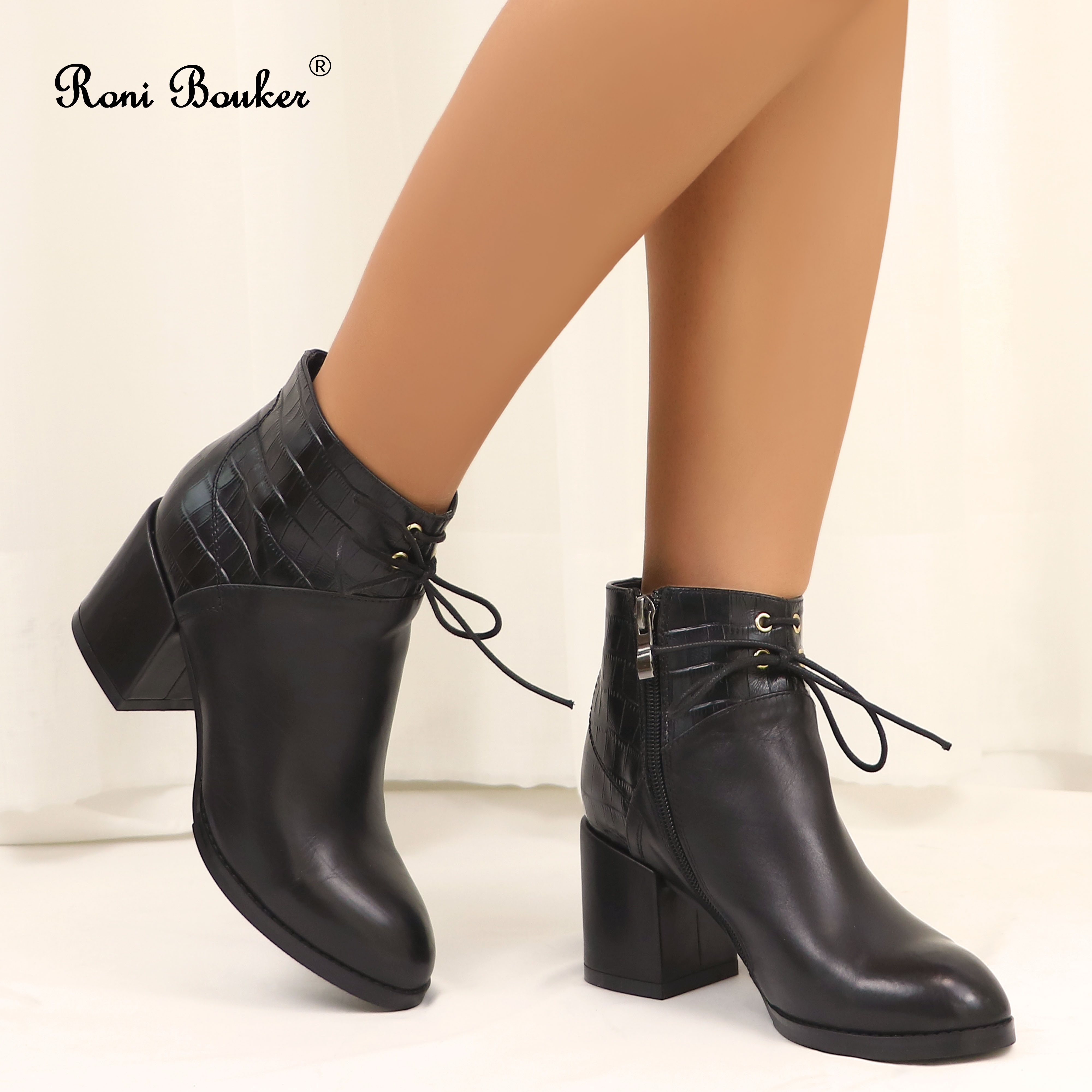 Roni Bouker Fashion Ankle Booties Comfort Round Toe Chunky Heel Ladies Shoes with Zip Black Genuine Leather Handmade Women BootsRoni Bouker Fashion Ankle Booties Comfort Round Toe Chunky Heel Ladies Shoes with Zip Black Genuine Leather Handmade Women Boots