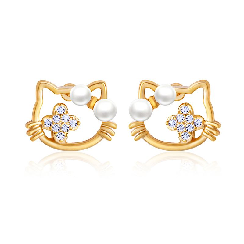 Cute Hello Kitty Earrings For Girls Small Tiny Silver Pearl Cat Stud