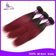 7A Ombre Burgundy Brazilian Hair Straight 3 Bundles Cheap Straight Ombre Human Hair Weave 1B/Burgundy Ombre Virgin Hair Straight
