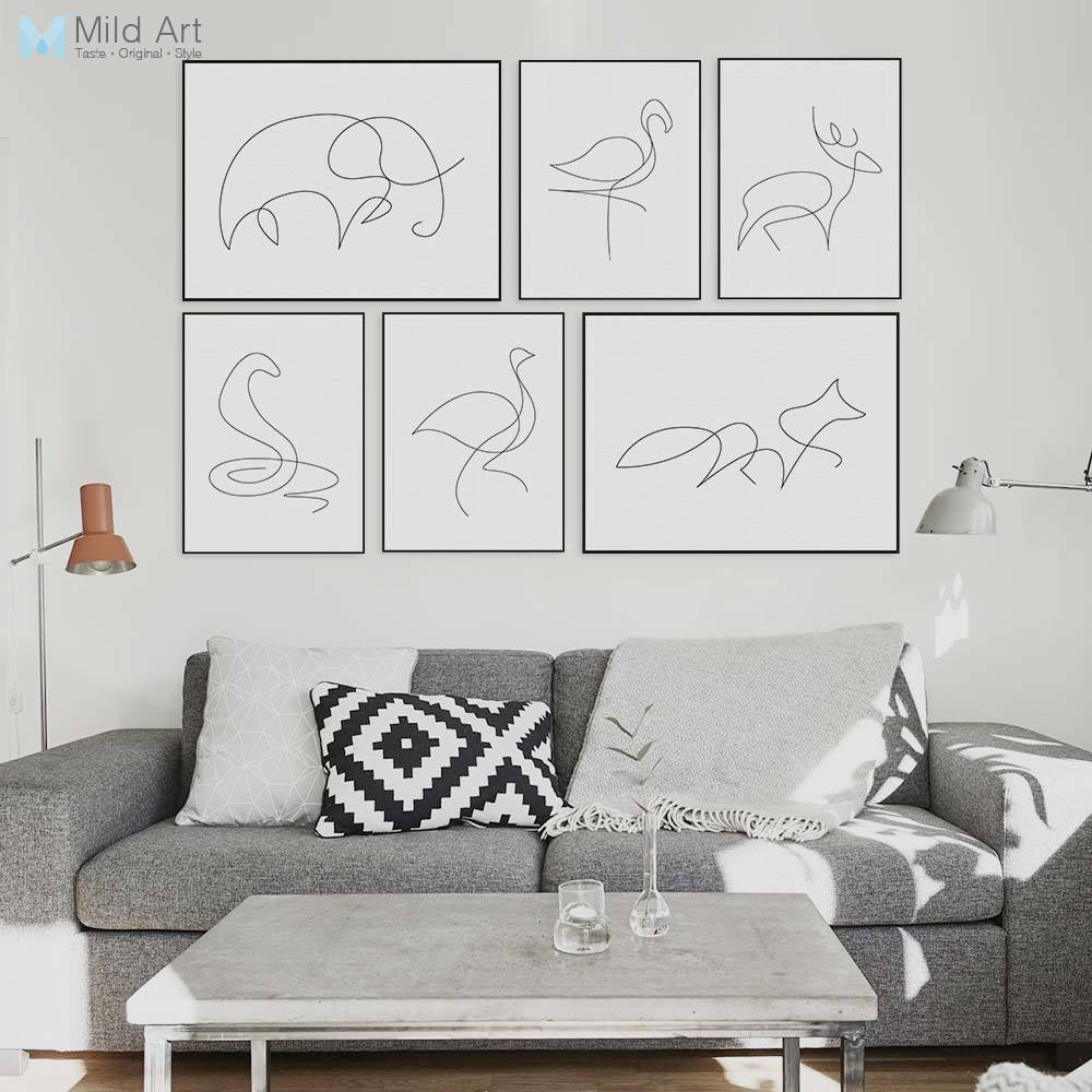 Poster Cerf Moderne Picasso Minimaliste Forme Animale Toile A4 Art Poster