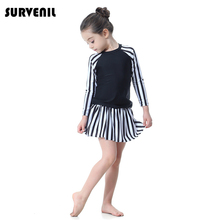 цены Swimsuit Girl Muslim Swimwear Two Piece Long Sleeve Swim Dresses with skirt Modest Islamic Kids Swimsuit Swimming Suit for Girls