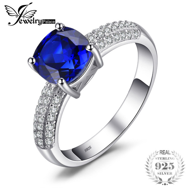 JewelryPalace Cushion 2.6ct Created Blue Sapphire Solitaire Engagement Ring 925