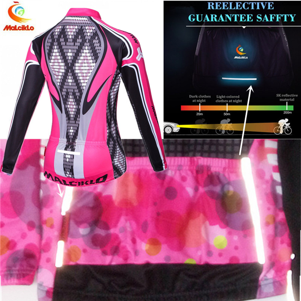 Malciklo Thermal Fleece Winter Cycling Clothing Women Maillot Ciclismo Invierno MTB Pink Cycling Jersey Set Bike Clothing